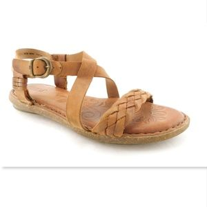 BORN Natural Woven Leather Ankle Strap Sandals 8